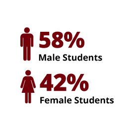 Infographic: 58% Male Students, 42% Female Students