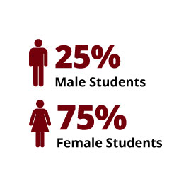 Infographic: 25% Male Students, 75% Female Students