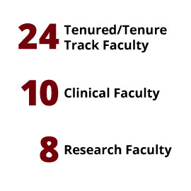 Infographic: 24 Tenured/Tenure Track Faculty, 10 Clinical Faculty, 8 Research Faculty